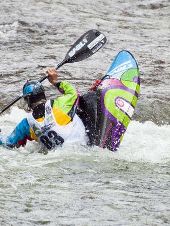 Kayak freestyle event  at 2012 Summer Teva Mountain Games. Vail, Colorado.