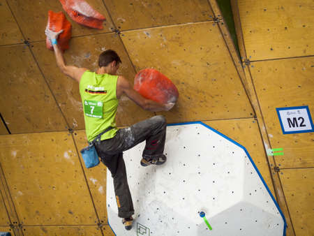 Bouldering event  at 2012 Summer Teva Mountain Games. Vail, Colorado. Stock Photo - 14142198
