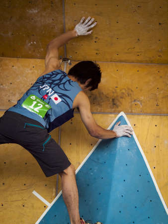 bouldering: Bouldering event  at 2012 Summer Teva Mountain Games. Vail, Colorado.