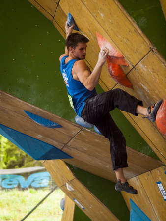 Bouldering event  at 2012 Summer Teva Mountain Games. Vail, Colorado. Stock Photo - 14142226