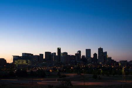 denver skyline at sunset: Denver skyline at sunset. Colorado.