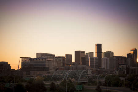 Denver skyline at sunset. Colorado.
