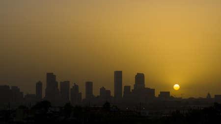 16th street mall: Denver skyline at sunrise. Colorado. Editorial