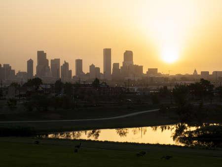 Denver skyline at sunrise. Colorado. Editorial
