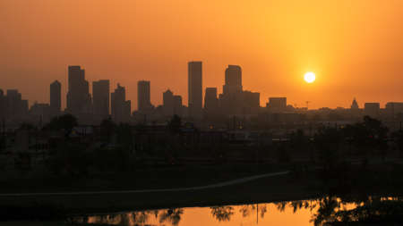 denver skyline: Denver skyline at sunrise. Colorado. Editorial