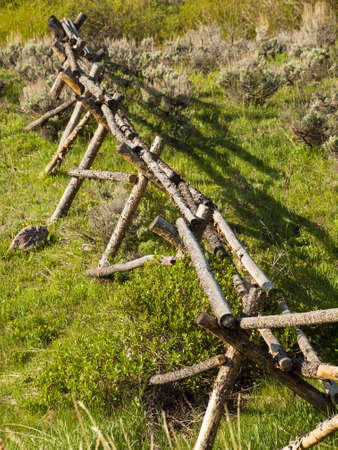 split rail: Split rail fence in rural area.