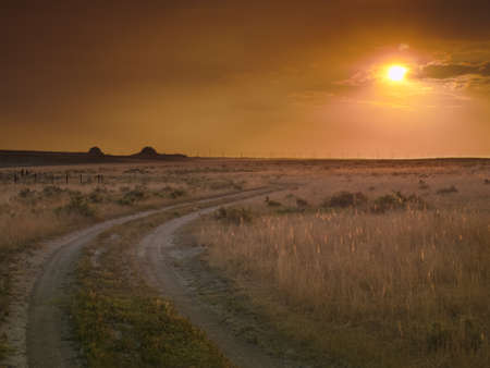 Dramatic sunset at Pawnee National Grassland in Weld County, of northeastern Colorado. photo