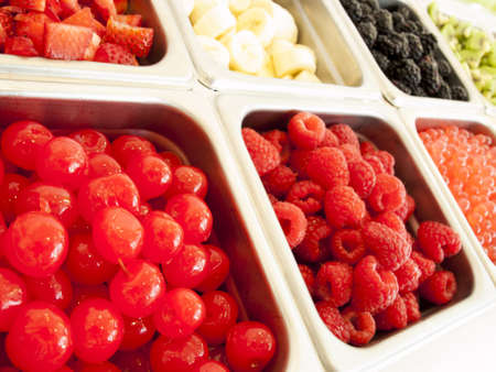 Frozen yogurt toppings bar. Yogurt toppings ranging from fresh fruits, nuts, fresh-cut candies, syrups and sprinkles. Stock Photo - 14287046