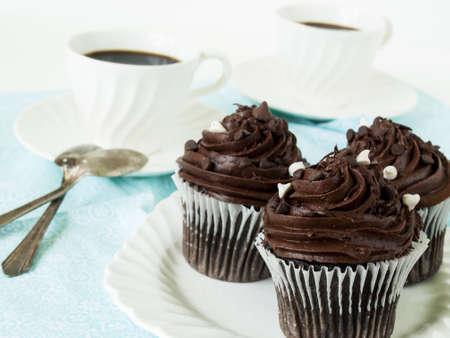 quadruple: Gourmet quadruple chocolate cupcakes on white plate. Stock Photo