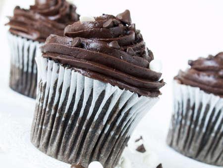 quadruple: Gourmet quadruple chocolate cupcakes on white background.