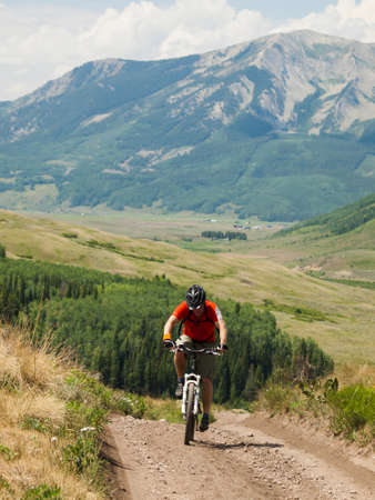 butte: Mountain biking in Crested Butte, Colorado. Editorial