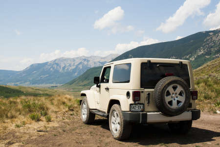 butte: Jeep at the overlook in Crested Butte area, Colorado.