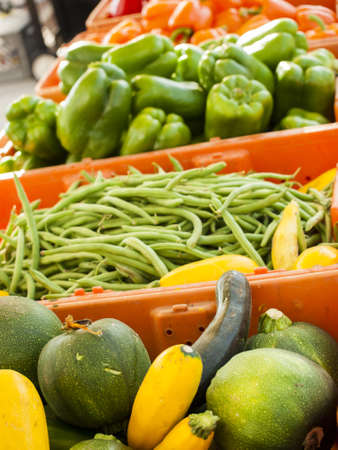 Fresh organic food at the local farmers market. Farmers markets are a traditional way of selling agricultural products. photo