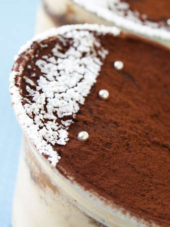 Tiramisu mousse with custom decoration served in plastic cup. Banco de Imagens