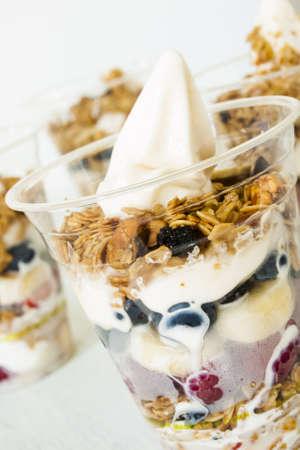 Parfait with fresh fruit and frozen yougurt. Imagens - 14504405