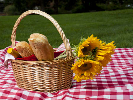 Picnic basket with fresh bread and wine. Stock Photo - 14693696