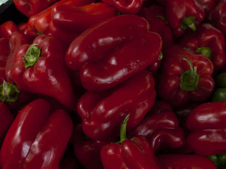 Red bell peppers at the local farmer's market. photo