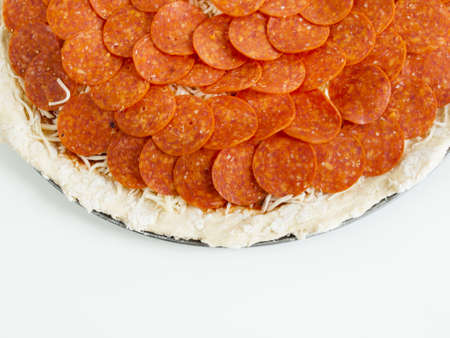 Home made pepperoni pizza served for dinner. photo