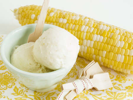 Gourmet Olathe sweet corn gelato on white background. photo