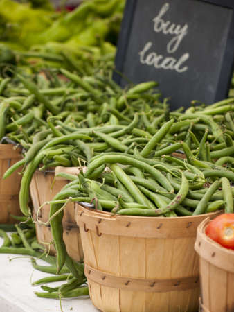 green beans: Pimientos Jud�as verdes en el mercado del granjero local.