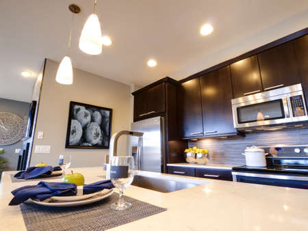 Modern kitchen with wood cabinets and stainless appliances. Stock Photo - 15079454
