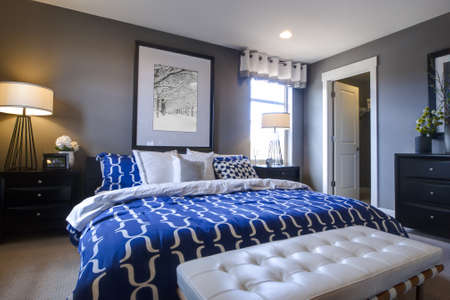 matress: Modern master bedroom with blue wall and white linens.