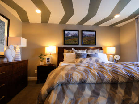 Modern master bedroom with large pictures and custom painted ceiling. Stock Photo - 15079394