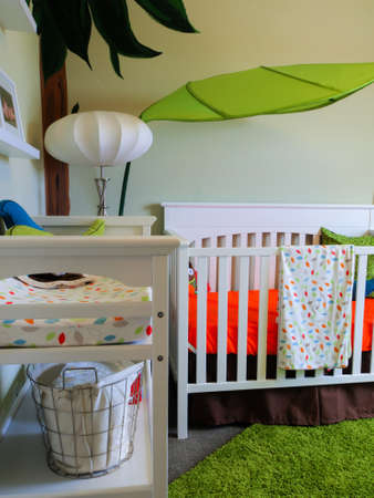 matress: Modern baby room with white crib and painted walls.