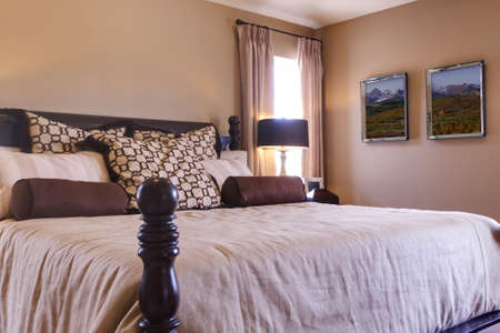 Modern master bedroom with king size bed.