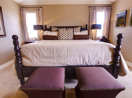 king size: Modern master bedroom with king size bed.