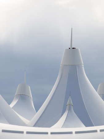 peaked: Denver International Airport well known for peaked roof  Design of roof is reflecting snow-capped mountains