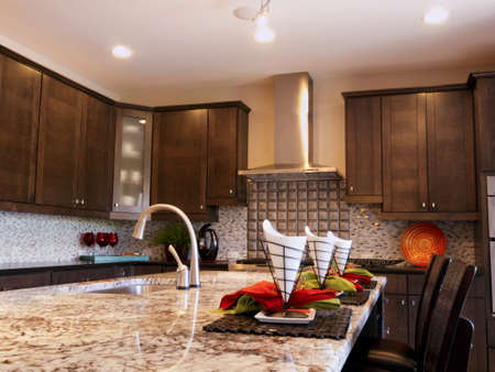 kitchen counter top: Residential interior of modern house.