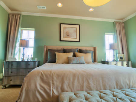 bedroom: Residential interior of modern house.