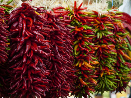 string together: Fresh rista on display at the local farmers market  Legend has it, in the Southwest, that hanging chili ristras brings good luck if hung at the entrance of the home