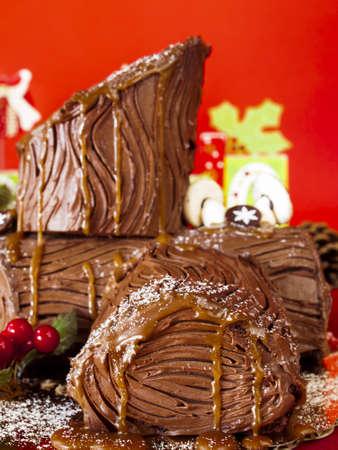 yule log: Traditional Christmas Yule Log cake decorated with marzipan mushrooms.