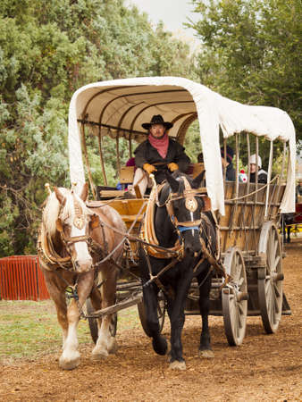mile: Old traditional horse-drawn ride for kids. 2012 Pumpkin Harvest Festival at Four Mile Historic Park, Denver. Editorial