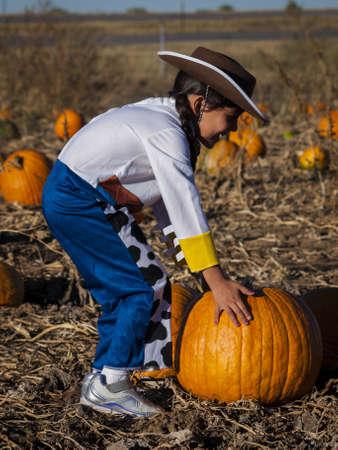 Little girl in Halloween costume looking for big pumpkin on pumpkin patch. photo