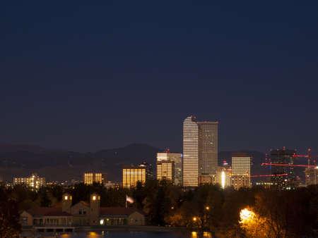 denver at sunrise: Sunrise over downtown Denver in late Autumn. Stock Photo
