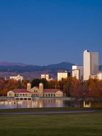 denver skyline at sunrise: Sunrise over downtown Denver in late Autumn. Stock Photo