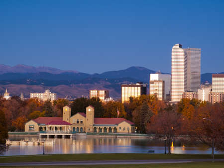 denver skyline: Sunrise over downtown Denver in late Autumn. Stock Photo