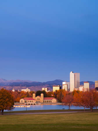 landforms: Sunrise over downtown Denver in late Autumn. Stock Photo