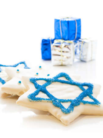 Gourmet cookies decorated with white icing for Hanukkah. Stock Photo - 15943817