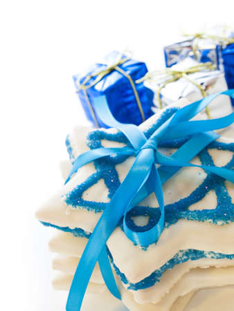Gourmet cookies decorated with white icing for Hanukkah. Stock Photo - 15943881