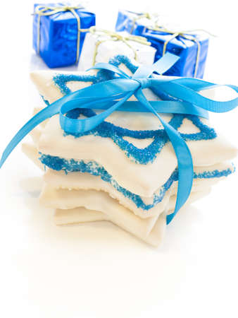 Gourmet cookies decorated with white icing for Hanukkah. Stock Photo - 15943911