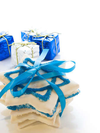 Gourmet cookies decorated with white icing for Hanukkah. Stock Photo - 15943858