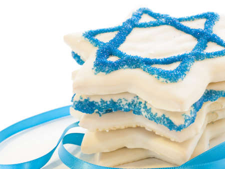 chanukkah: Gourmet cookies decorated with white icing for Hanukkah.