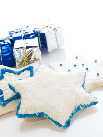 Gourmet cookies decorated with white icing for Hanukkah. Stock Photo - 15943855