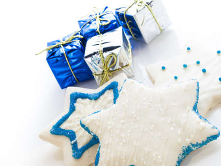 Gourmet cookies decorated with white icing for Hanukkah. Stock Photo - 15943853