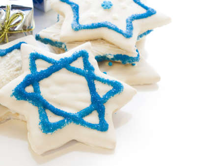 Gourmet cookies decorated with white icing for Hanukkah. Stock Photo - 15943861
