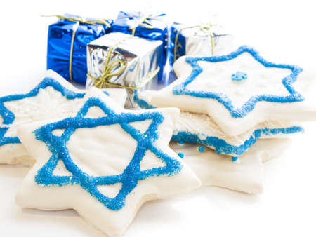 Gourmet cookies decorated with white icing for Hanukkah. Stock Photo - 15943948